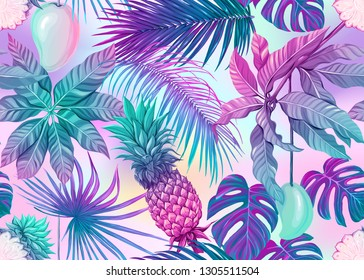 Seamless pattern, background with tropical plants, flowers. Colored vector illustration in neon, fluorescent colors. In light ultra violet pastel colors on mesh pink, blue background