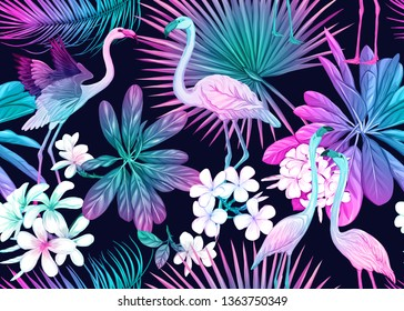 Seamless pattern, background with tropical plants, flowers and birds. Colored vector illustration in neon, fluorescent colors. Isolated on black background.