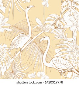 Seamless pattern, background with tropical plants and flowers with orchid and tropical birds on soft yellow background. Outline hand drawing vector illustration.