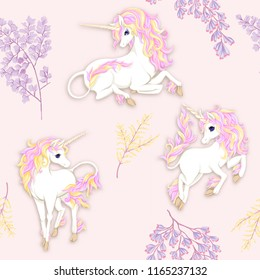 Seamless pattern, background with unicorn and  fantsatic flowers and glitter. Vector illustration. In pink  colors.