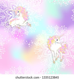 Seamless pattern, background with unicorn and  mandala pattern and glitter. Vector illustration. In light ultra violet pastel colors on mesh pink, blue background