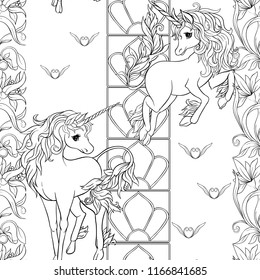 seamless pattern background with unicorn and vintage fantsatic flowers in art nouveau style
