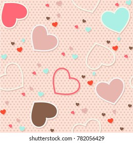 Seamless pattern background valentine heart vector illustration printing onto fabric and scrapbook paper