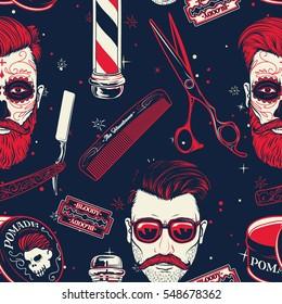 Seamless pattern background with vintage barber shop tools vector illustration