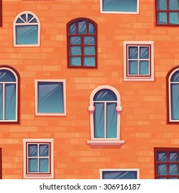 Seamless pattern background of wall with windows. Vector illustration.