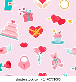 Seamless pattern background with wedding signs and symbols. Love, romance flat line icons - hearts, toy, lock, phone, mobile, capcake, valentine card. Vector Wallpaper on the Valentine's day.