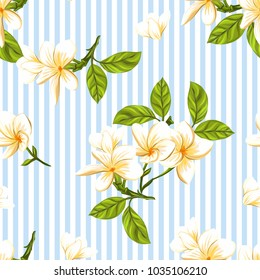 Seamless pattern, background with white plumeria on blue and white stripes background. Hand drawn colorful vector illustration without transparent and gradients.