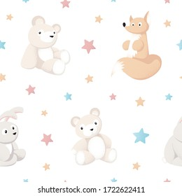 Seamless pattern background with wild forest animals toys isolated on white for baby products. Bear, fox, hare, rabbit and stars in flat style and pastel colors