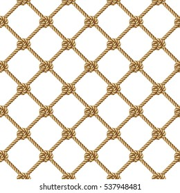 Seamless pattern, background, yellow rope woven in the form fishing net, isolated on white