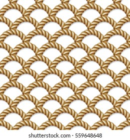 Seamless pattern, background, yellow rope woven, isolated on white