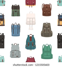 Seamless pattern with backpacks or rucksacks of different models and sizes. Backdrop with stylish bags on white background. Modern vector illustration for textile print, wrapping paper, wallpaper.
