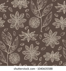 Seamless pattern with badyan, star anise: fruit, flower, star anise seeds and leaves. Vector hand drawn illustration.