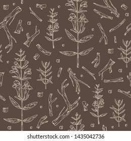 Seamless pattern with baikal skullcap: baikal skullcap flowering branch and root. Cosmetic and medical plant. Vector hand drawn illustration