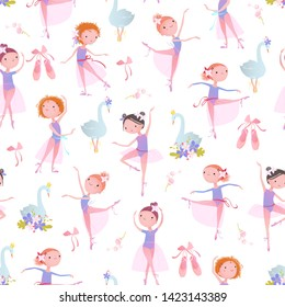 Seamless pattern with ballet dancers. Vector illustration.