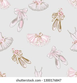 Seamless pattern with ballet pointe shoes and tutu dress. Ballet dance school promo backdrop. Hand drawn vector watercolor illustration on white background. Baby fashion design for little princess.