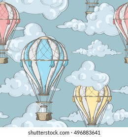 seamless pattern with balloons and clouds in the sky