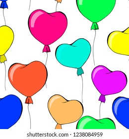 seamless pattern with balloons hearts