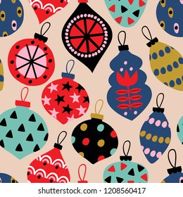 seamless pattern with Сhristmas balls - vector illustration, eps