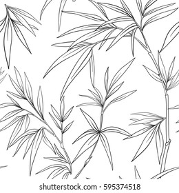 Seamless pattern with bamboo in Japanese style. Outline drawing coloring page. Coloring book for adult. Vector stock illustration.