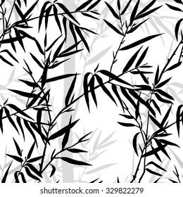 Seamless pattern. Bamboo leaf background. Floral seamless texture with leaves. Vector illustration