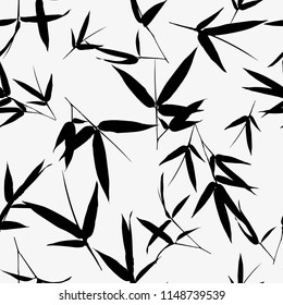 Seamless pattern with bamboo leaves vector illustration,