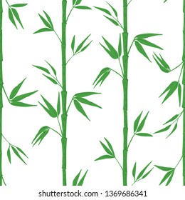 Seamless pattern with bamboo on white background. Vector illustration.