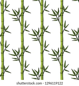 seamless pattern with bamboo stems and leaves on white background