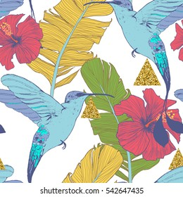 Seamless pattern with banana leaves, tropical flowers, birds  and geometrical golden elements