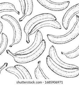 Seamless pattern. Banana sketch hand drawn, graphic design. Vector illustration. Banana seamless pattern for design. Can used for packaging.