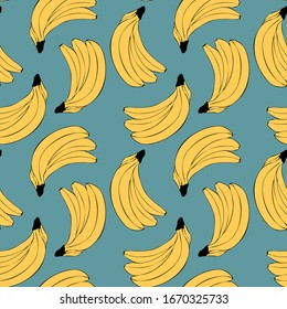 Seamless pattern  with bananas. Linear doodle drawing of fruit in minimalism style. Modern summer print. Yellow fruit