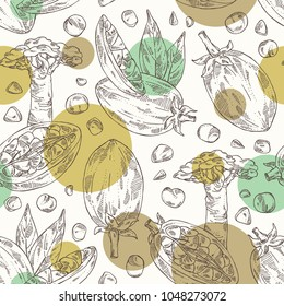 Seamless pattern with baobab: baobab fruit, seeds, tree and leaves. Super food. Vector hand drawn illustration