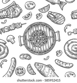 Seamless pattern barbecue grill. Top view with charcoal, mushroom, tomato, pepper, sausage, lemon, kebab, fish and beef steak. Vintage black vector engraving illustration. Isolated on white background