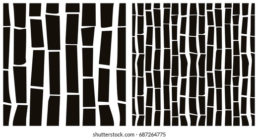 Seamless pattern of bark, wood. Single pattern is shown in the left. The example of assembly seamless is shown in the right.