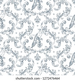 Seamless pattern with baroque damask design, rocco style bird and swirls elements