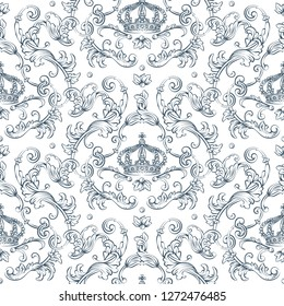 Seamless pattern with baroque damask design, rocco style crown and swirls elements