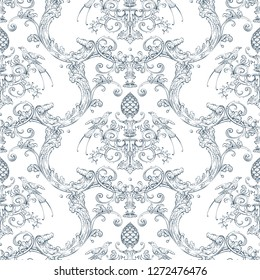 Seamless pattern with baroque luxury decorative elements, rocco style birds, cone and fashion swirls