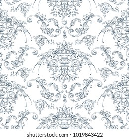Seamless pattern with baroque, rocco style birds and swirls elements