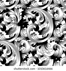 Seamless pattern in the Baroque style. Vintage background in black and white. Abstract texture for wallpaper design, textile, fabric. Vintage baroque pattern seamless vector in classic flower graphic