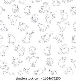 Seamless pattern based on hand drawn playful cats. Great for decor, surface design, postcards.