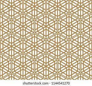Seamless pattern based on Japanese ornament Kumiko.Golden color.Hexagon grid.