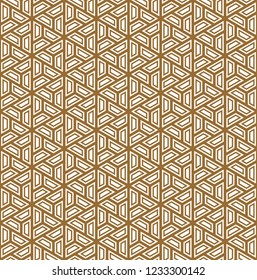 Seamless pattern based on Japanese ornament Kumiko.Golden color.Repeating contour lines.