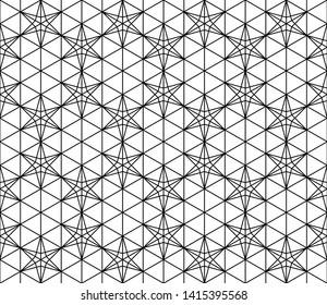 Seamless pattern based on Japanese ornament Kumiko.Black and white.
