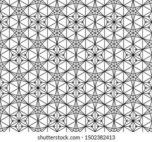 Seamless pattern based on Japanese ornament Kumiko.Black and white.Average thickness lines.