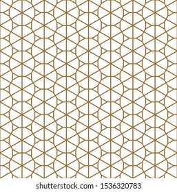 Seamless pattern based on Japanese ornament Kumiko.Golden color.Average thickness.