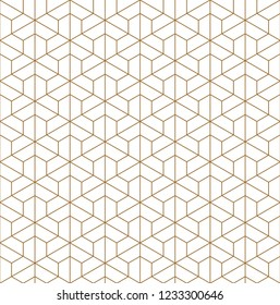 Seamless pattern based on Kumiko ornament .Silhouette with fine thickness lines.Suitable for laser cutting or design.