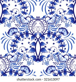 Seamless pattern based on porcelain painting gzhel style. Ornament in the national style. Blue flower painting on a white background. Vector illustration.
