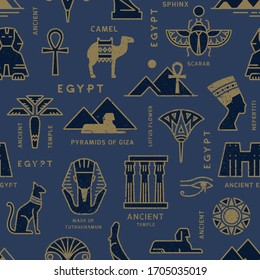 A seamless pattern based on the symbols of ancient Egypt. Cats, lotus flowers, camels, buffaloes and more.