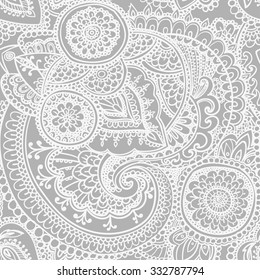 Seamless pattern based on traditional Asian elements Paisley. Black - white version.