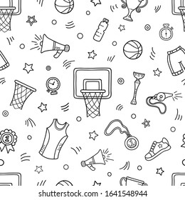 Seamless pattern of basketball objects and symbols. Basketball themed doodle.