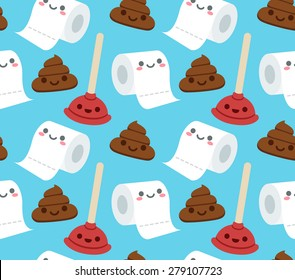 Seamless pattern of bathroom related objects with cute cartoon faces: roll of toilet paper, plunger and a pile of poop.